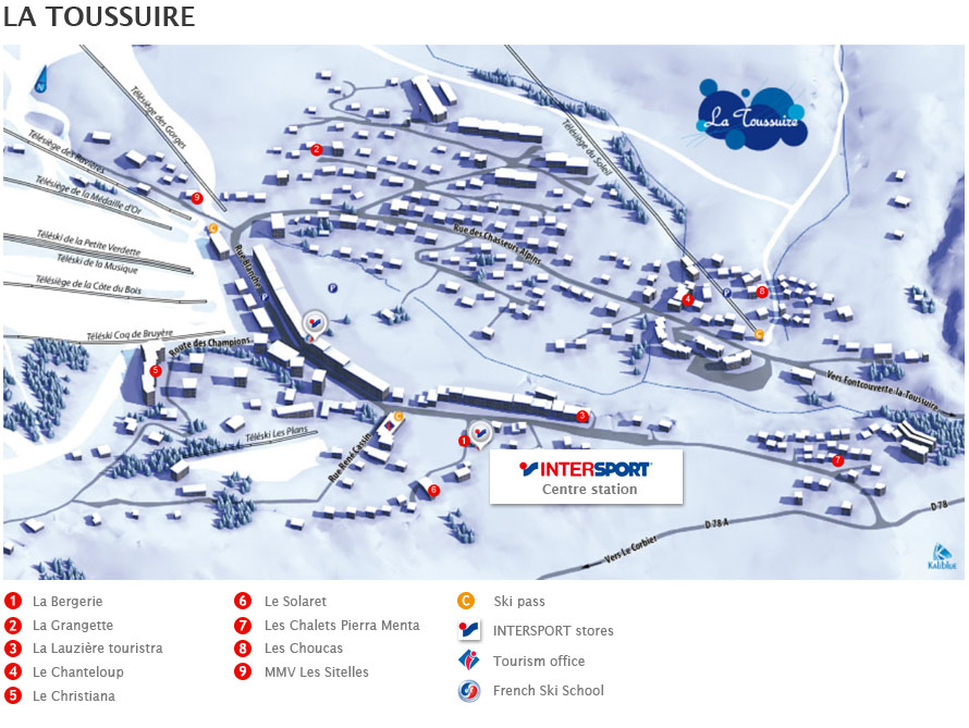 Access map Intersport La Toussuire